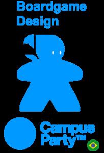 Logo boardgame design campus party 10 2017. Meeple com o logo do Campuse.ro no lugar da cabeça. jogos de tabuleiro na campus party brasil 10